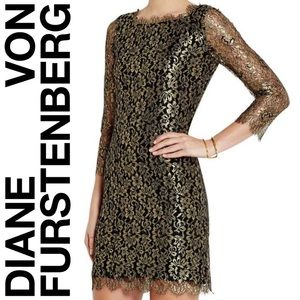 Diane Von Furstenberg Gold lace Zarita Shift Dress